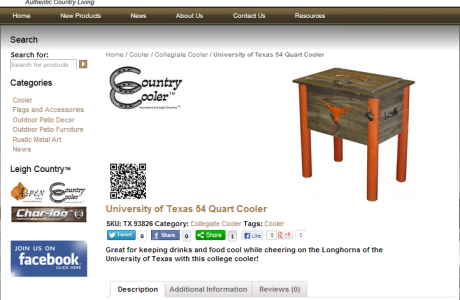 Leigh Country - E-Commerce website with custom product design and Extensive Social Media Integration